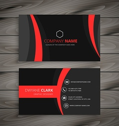 Dark modern red black business card vector