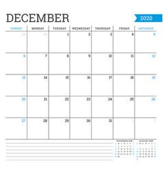 December 2020 square monthly calendar planner vector