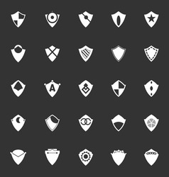 Design shield icons on gray background vector