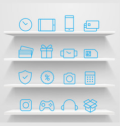 Different icons on shelves e-commerce concept vector