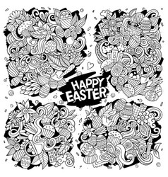 doodles cartoon set happy easter vector image