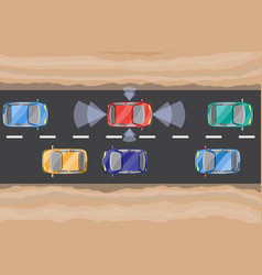 driverless car self-driving auto view from above vector image
