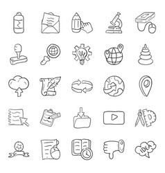 Education and learning doodle icons vector