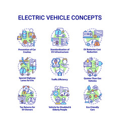 Electric vehicle round concept icons set vector