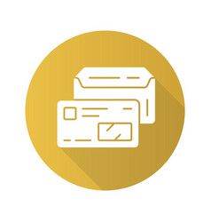 Envelope and credit card flat design long shadow vector