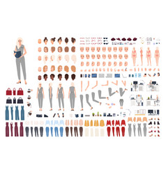 Female secretary animation set or diy kit bundle vector