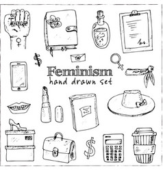 feminism isolated hand drawn doodles set vector image