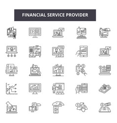 Financial service provider line icons signs vector