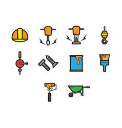 flat color construction icon set vector image