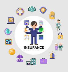 flat insurance round concept vector image