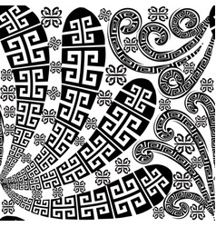 Floral black and white isolated greek seamless vector