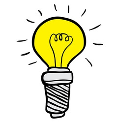 Freehand drawn cartoon lightbulb vector