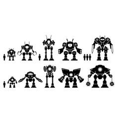 Giant mecha robot or battle bot set collection vector