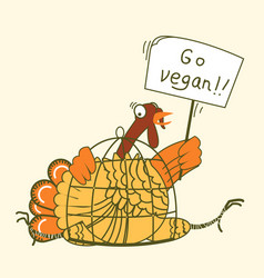 go vegan thanksgiving turkey bird sits in a cage vector image
