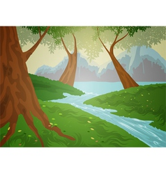 Green forest nature background vector image