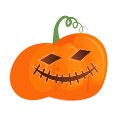 Grinning halloween pumpkin head isolated on white vector