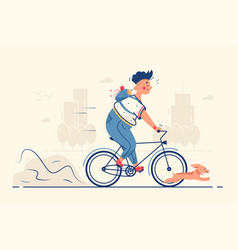 guy riding bike with dog vector image