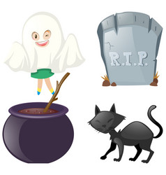Halloween set with ghost and black cat vector