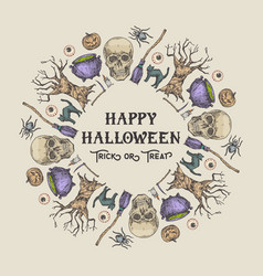 halloween sketch wreath banner or card template vector image