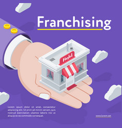 Hand holding franchising store vector