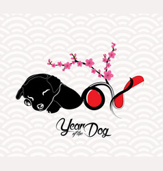Happy chinese new year 2018 card with blossom vector
