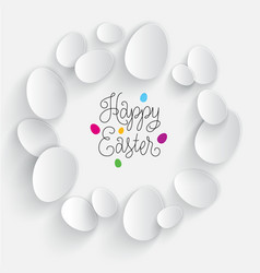 happy easter card poster color white eggs vector image