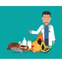 Healthy food and medical doctor image vector