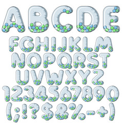 Inflatable alphabet numbers signs with balls vector
