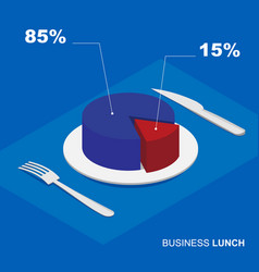 Isometric 3d pie chart on plate - business lunch vector