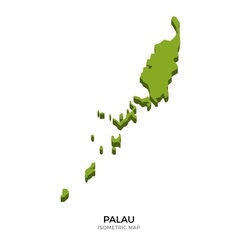Isometric map of Palau detailed vector image