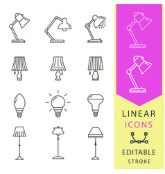 lighting icons set black vector image