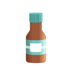 liquid medicine in brown glass bottle vector image