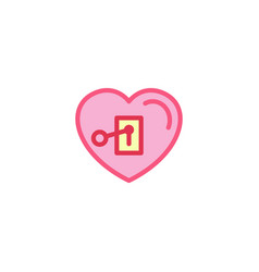 Love with key plugged in icon simple heart line vector