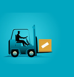 Man driving a forklift vector