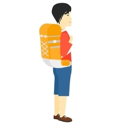 Man with backpack hiking vector image