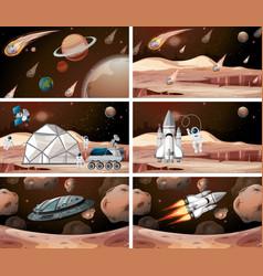 mars space scene set vector image