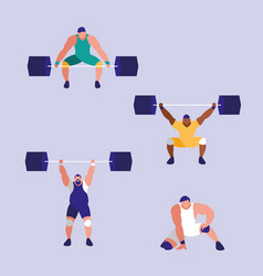 men practicing lifting weight avatar character vector image