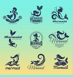 mermaid logo marine swim fairytale women ocean vector image