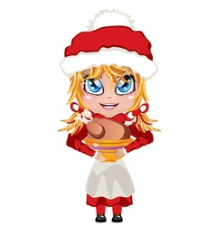 Mrs Claus with Chicken vector image