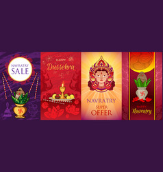 Navratri banner set cartoon style vector