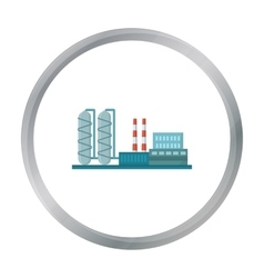 Oil refinery factory icon in cartoon style vector image