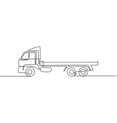 one continuous line drawing long trailer truck vector image