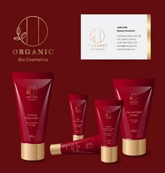 organic identity mock up cosmetic logo vector image