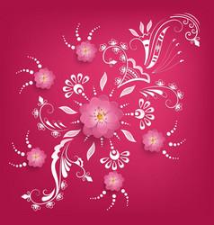 Paper cut sakura flowers with mehndi vector