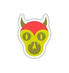 Paper sticker on background of halloween monster vector