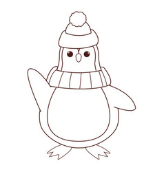 penguin with hat and scarf cartoon vector image