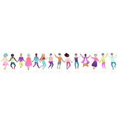 People holding hands in a jumping together vector