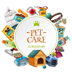 Pet care accessories round frame vector