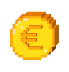Pixel 3d euro icon vector