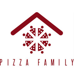 Pizza family concept with abstract people and roof vector